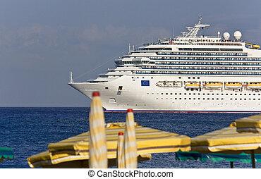 lyxvara, rhodos, ö, skepp kryssning, grekland, jättestor