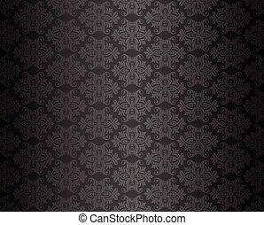 lyxvara, svart, seamless, blommig, tapet