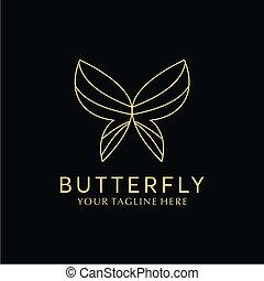 lyxvara, vektor, fjäril, enkel, logo