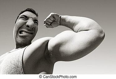 má, homem, com, músculos grandes