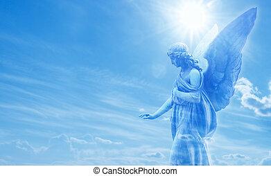 mágico, ángel, en, cielo