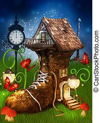 mágico, dwarf's, casa