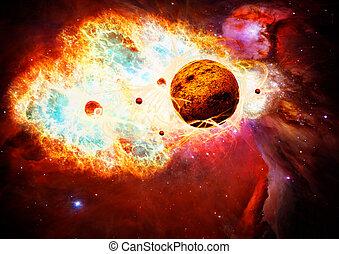 mágico, espacio, y, nebulosa, arte, galaxia, creativo, plano...
