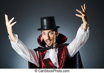 mágico, fazendo truques, em, quarto escuro