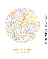 mágico, floral, círculo, decoración, patrón, plano de fondo