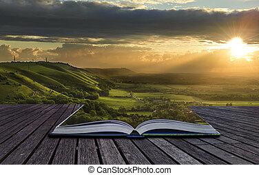 mágico, livro, com, conteúdo, derramando, em, paisagem,...