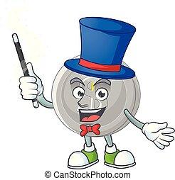 mágico, moeda, caricatura, prata, mascote, personagem