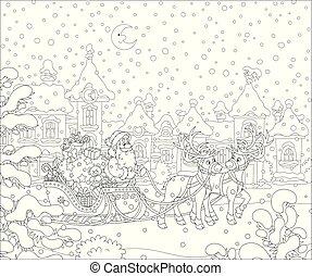 mágico, sleigh, santa claus