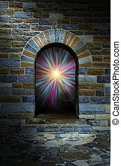 mágico, vórtice, en, un, arco de piedra, puerta