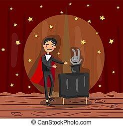 mágico, wizard, personagem, mostrando, foco, ligado, teatro, fase, vetorial, ilustração