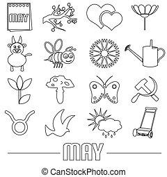 máj, měsíc, námět, dát, o, jednoduchý, nárys, ikona, eps10