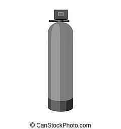 máquina, água, estilo, filtration, illustration., símbolo,...