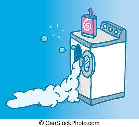 máquina, abierto, mucho, lavado, jabón