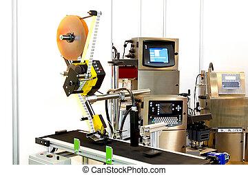 máquina, adesivo, linha
