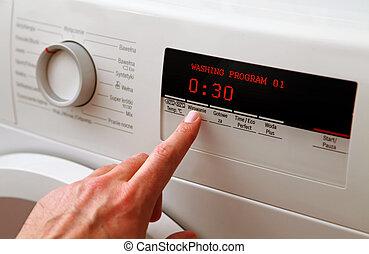 máquina, ajustar, homem, lavando, mão