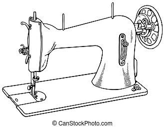 máquina, antigas, cosendo