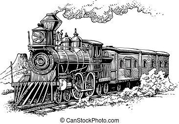 máquina, antigas, vapor