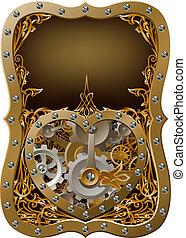 máquina, aparato de relojería, corazón, conce, engranajes