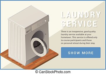 máquina, apartamento, isometric, vetorial, lavando