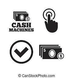 máquina, atm, dinheiro, icons., retirada