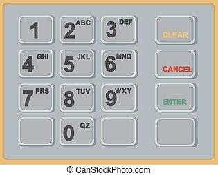 máquina, atm, efectivo, telclado numérico