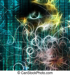 máquina, binário, semelhante, human, visage