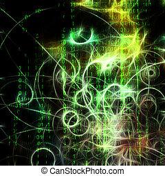 máquina, binario, y, humano, como, semblante