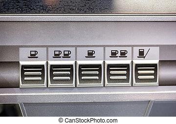 máquina, botones, primer plano, café