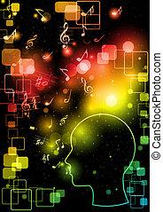 máquina, cérebro, homem