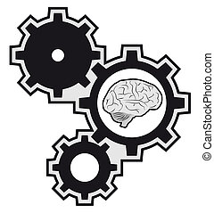 máquina, cérebro, pedaço