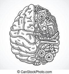 máquina, cérebro, processando