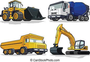 máquina, c, construcción, -, excavadora