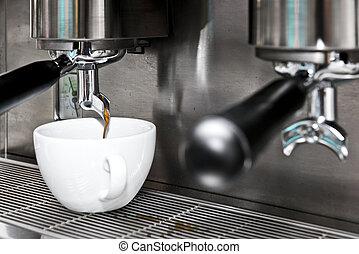 máquina, café, cappuccino