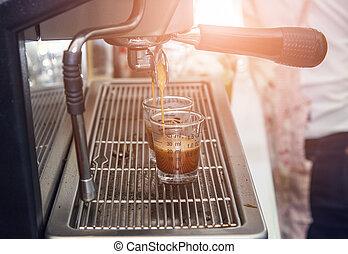 máquina, café, cup., fazer, espresso, filtro, quentes, fluir