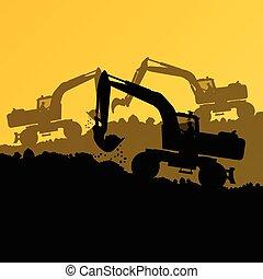 máquina, carregador, escavador, hidráulico