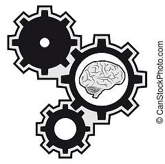 máquina, cerebro, pedazo