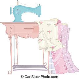 máquina, chique, cosendo, roto