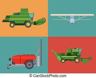 máquina, combina, industrial, illustration., escavador, fazenda, bandeira, tratores, equipamento, vetorial, maquinaria, colheita, agricultura, transporte