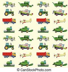 máquina, combina, industrial, illustration., escavador, fazenda, padrão, tratores, equipamento, vetorial, maquinaria, fundo, colheita, agricultura, transporte