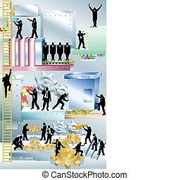 máquina, conceito, ilustração negócio