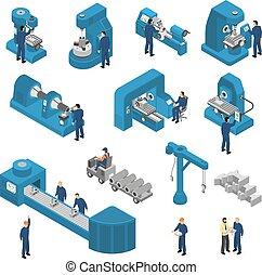 máquina, conjunto, isométrico, herramientas, trabajadores