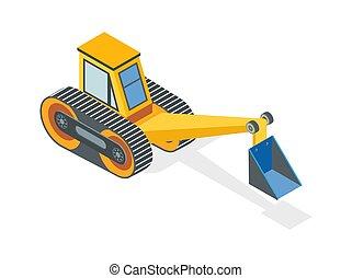 máquina, construção, escavação, balde, escavador