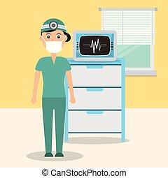 máquina, consultar, monitorando, sala, doutor