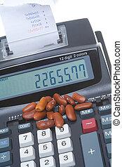 máquina, contabilidade, contador, feijão, somando, rim