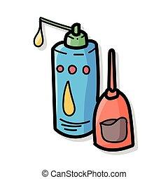máquina, cor, óleo, doodle