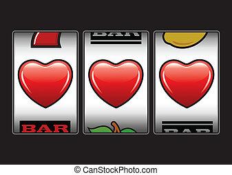 máquina, corazones, ranuras, triple