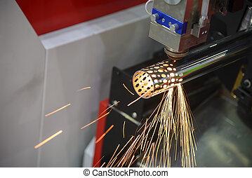 máquina, corte, laser, fibra