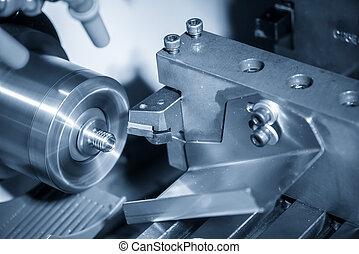 máquina, corte, torneado, fio, cnc, fabricando, torno, process., shaft., ou, hi-technology, metal