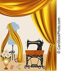 máquina, cortina, costura, maniquí, plano de fondo