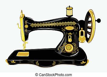 máquina, cosendo, antigas